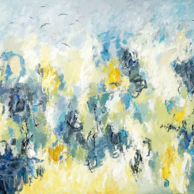 "Lene Schmidt-Petersen: ""De flyver mod foråret"" (150x100 cm)"
