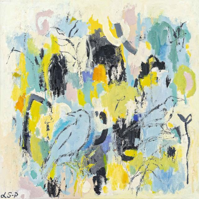"""Lene Schmidt-Petersen: """"Den dag livet trængte sig på"""" (60x60 cm)"""