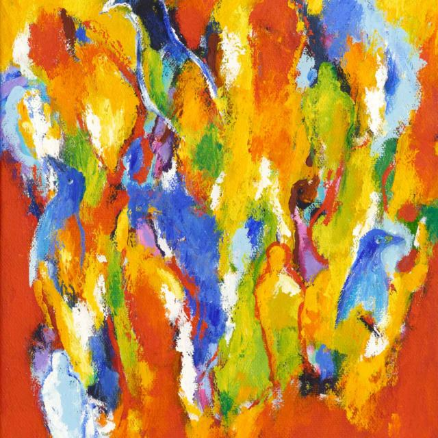 """Lene Schmidt-Petersen: """"En herlig dag i den farvede verden"""" (50x60 cm)"""