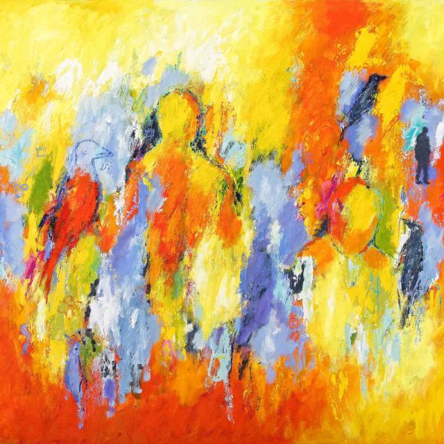 """Lene Schmidt-Petersen: """"Der hvor drømmen bliver til"""" (120x100 cm)"""