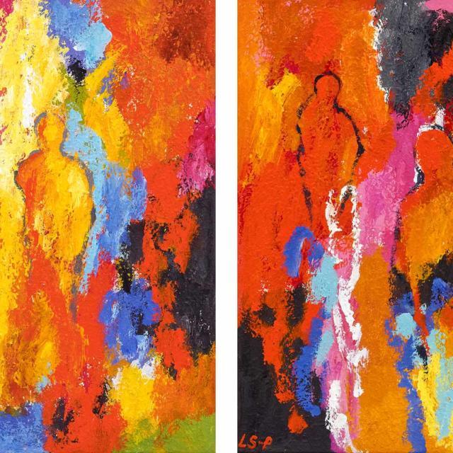 """Lene Schmidt-Petersen: """"De nærværende i det røde rum"""" (I og II, 50x50 cm)"""