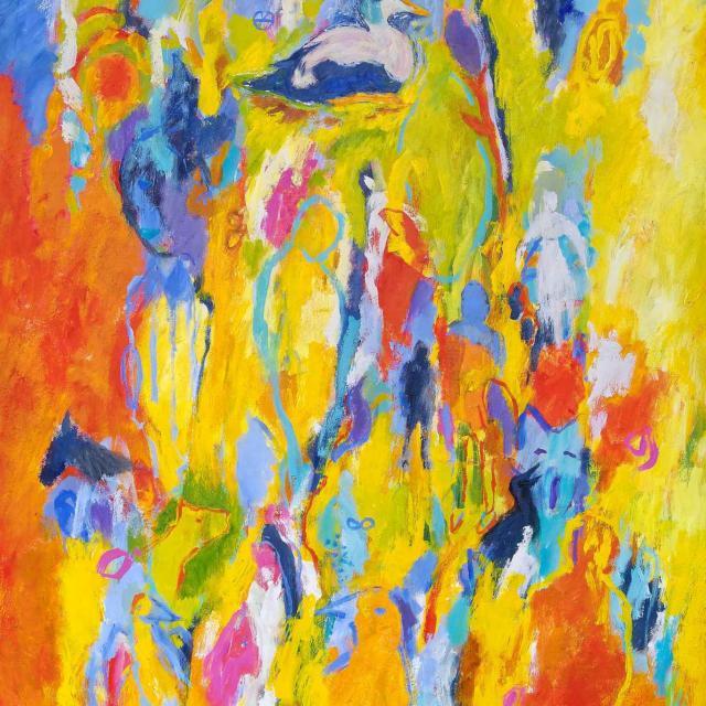 """Lene Schmidt-Petersen: """"På vandring ind i den gode historie"""" (100x150 cm)"""