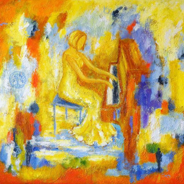 """Lene Schmidt-Petersen: """"Louise ved klaveret"""" (94x75 cm, bestillingsarbejde)"""