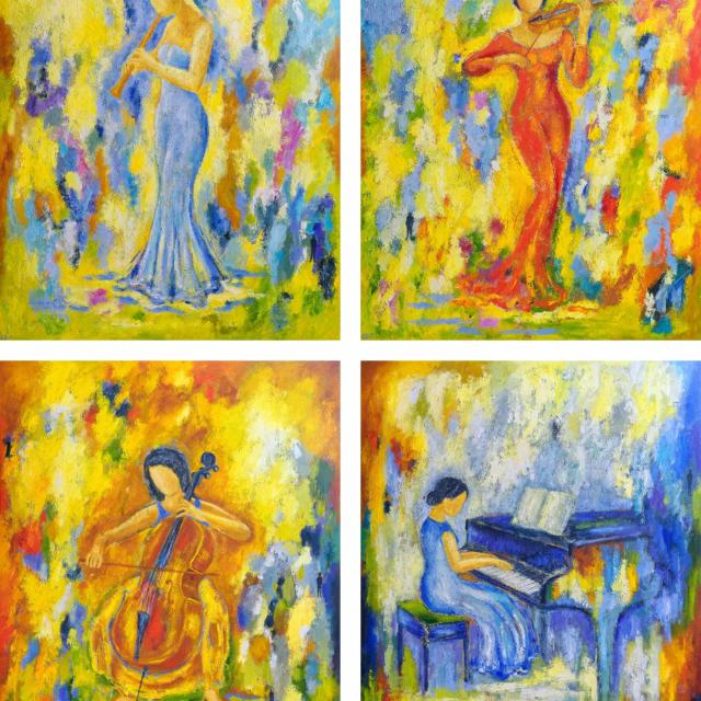 "Lene Schmidt-Petersen: ""De fire årstider"" (120x150 cm, udsmykningsopgave)"