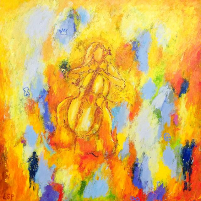 """Lene Schmidt-Petersen: """"Farven ånder med lyset fra cellisten"""" (60x60 cm)"""