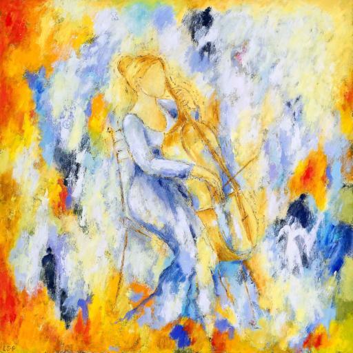 """Lene Schmidt-Petersen: """"Cellist i det gode univers"""" (100x100 cm)"""