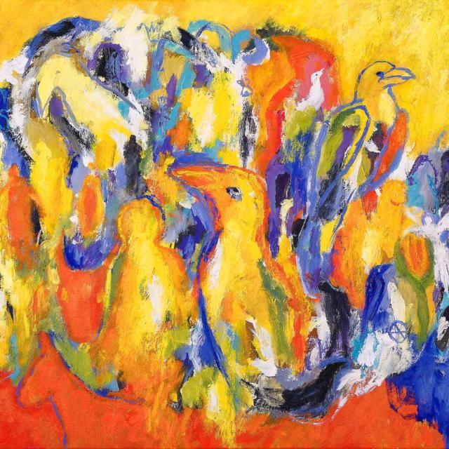 """Lene Schmidt-Petersen: """"Fugle i det farvede landskab"""" (90x70 cm)"""